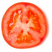 Slice of tomato isolated over white background. Top view, flat lay.. poster
