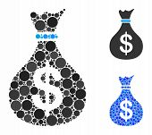 Fund Mosaic Of Filled Circles In Various Sizes And Color Hues, Based On Fund Icon. Vector Random Cir poster