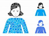 Lady Composition Of Small Circles In Different Sizes And Shades, Based On Lady Icon. Vector Small Ci poster