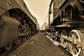 Between Cars Of Old Trains, Between Two Old Trains, Black And White Vintage Photo Of Trains poster