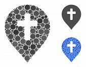 Religion Cross Marker Mosaic Of Round Dots In Variable Sizes And Color Tinges, Based On Religion Cro poster