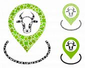 Cow Location Mosaic Of Unequal Items In Various Sizes And Shades, Based On Cow Location Icon. Vector poster