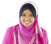 stock photo of muslimah  - Young Muslim girl smiling on white background - JPG
