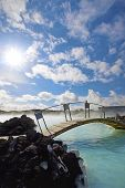 stock photo of porphyry  - The Blue Lagoon on a sunny day in Iceland - JPG