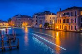 Grand canal of Venice city with beautiful architecture at night, Italy poster