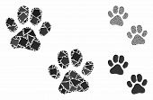 Paw Footprints Composition Of Rough Items In Various Sizes And Color Tinges, Based On Paw Footprints poster