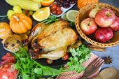 Thanksgiving Table Celebration Traditional Setting Food Or Christmas Table Decorated Of Food Thanksg poster