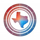 Texas Badge. Bright Gradient Logo Of Us State In Low Poly Style. Multicolored Texas Rounded Sign Wit poster