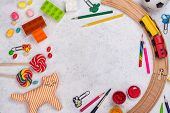 Happy Childrens Day Background With Toys, Pencils . Copy Space poster