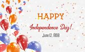 Philippines Independence Day Greeting Card. Flying Balloons In Philippines National Colors. Happy In poster
