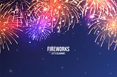 Festive Fireworks. Realistic Colorful Firework On Blue Abstract Background. Multicolored Explosion.  poster