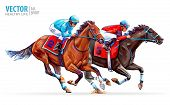 Two Racing Horses Competing With Each Other. Sport. Champion. Hippodrome. Racetrack. Equestrian. Der poster