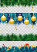 Christmas Frame With Baubles, Fir Branches, Mistletoe, Streamer, Gift And Christmas Border Decoratio poster