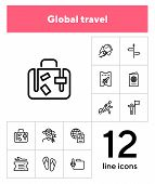 Global Travel Line Icon Set. Tourist, Luggage, Boarding Pass, Airplane. Tourism Concept. Can Be Used poster