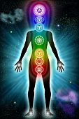 stock photo of chakra  - Illustration of the seven main chakras with physical mapping - JPG