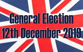 General Election 12th December 2019 Written On A Fabric British Union Jack Flag. Photograph With Add poster