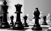 Постер, плакат: Черные шахматные фигуры
