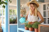 Young Woman Watering Home Plants On Veranda poster