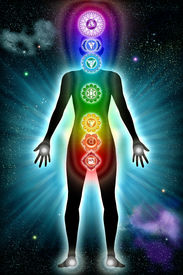 stock photo of tantra  - Illustration of the seven main chakras with physical mapping - JPG