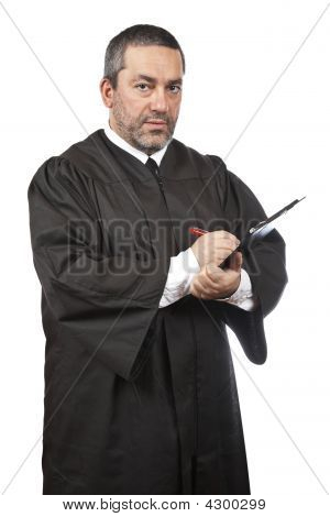 Serious Male Judge Writing