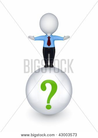 Small person standing on a ball with a query mark.