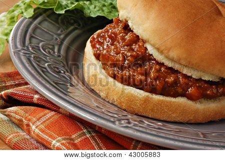 Freshly prepared sloppy joe sandwich on decorative plate with romaine lettuce.  Macro with shallow dof.
