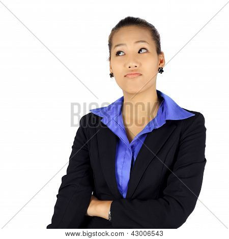 Isolated Young Business Woman With A Look Of Hesitation On White.