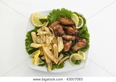 Grilled Chicken Legs With Chips