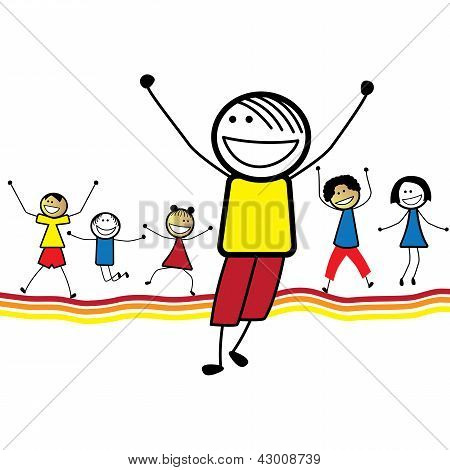 Illustration Of Happy Children(kids)jumping & Dancing Together. The Graphic Shows Smiling And Happy