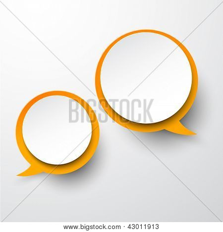 Vector abstract illustration of white and orange paper round speech bubbles on grey background. Eps10.
