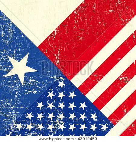 Texas and USA grunge Flag.