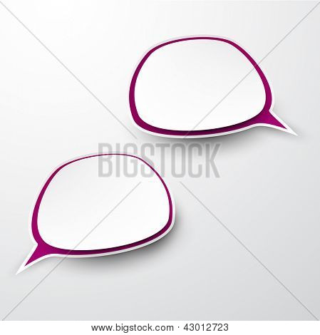 Vector abstract illustration of paper speech bubbles on grey background. Eps10.