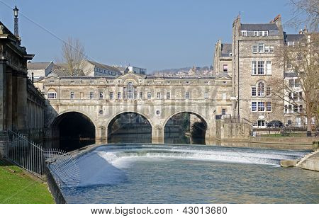 The Famous Pultney Bridge on the River Avon in Bath England
