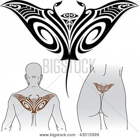 Maori styled tattoo pattern in shape of manta ray. Fit for upper and lower back. Editable vector format EPS 8.0