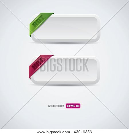 Buttons with hot labels - detailed vector design
