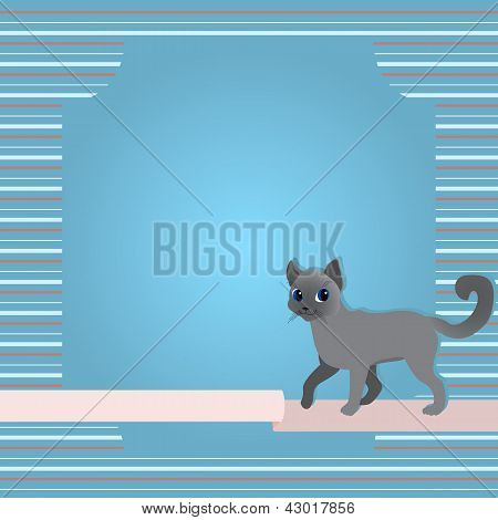 Greeting card with cat and ribbon