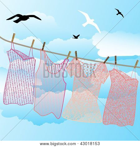 Wash day - line clothing clouds birds