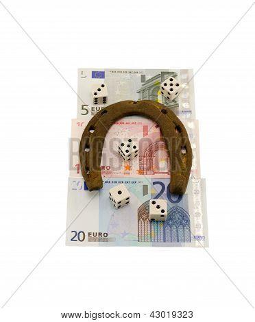 Gamble Dice Euro Cash Retro Horse Shoe Isolated