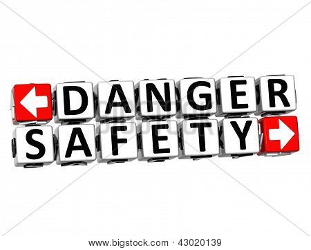 3D Danger Safety Button Click Here Block Text
