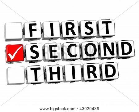 3D First Second Third Button Click Here Block Text