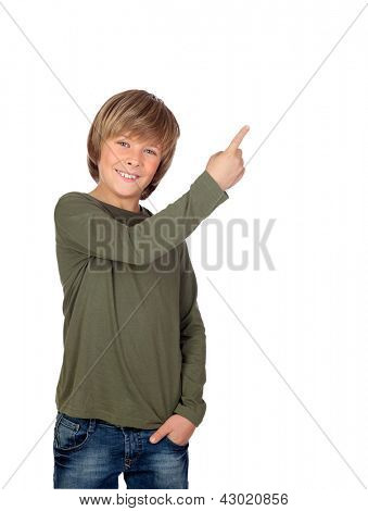 Adorable child pointing something isolated on a over white background