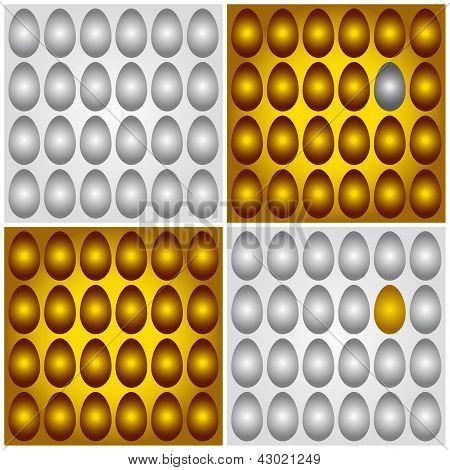 Ilustración de Vector de huevos plata oro marrón y gris