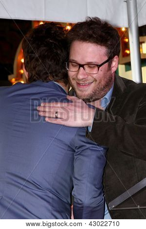 LOS ANGELES - MAR 7:  James Franco, Seth Rogen at the Hollywood Walk of Fame Ceremony honoring James Franco at the El Capitan Theater on March 7, 2013 in Los Angeles, CA