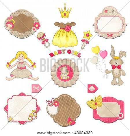 Collection of baby girl symbols, toys and labels with an empty seat for your text.