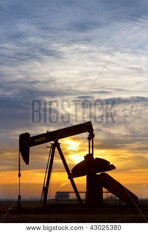 Oil Pumper At Sunrise Vertical Image