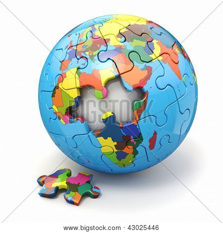 Concept of Globalization. Earth puzzle on white background. 3d