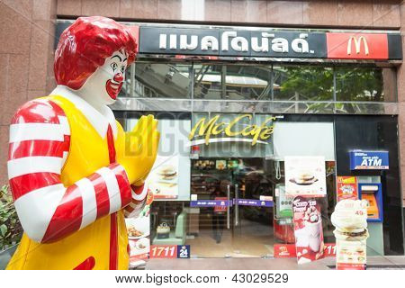 BANGKOK - MARCH 15: of McDonald's storefront in the centre of the capital on March 15, 2012 in Bangkok, Thailand. There are over 160 McDonald's restaurants in Thailand.