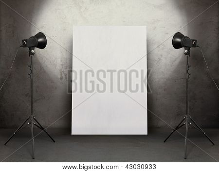 billboard in old studio, urban background with placard