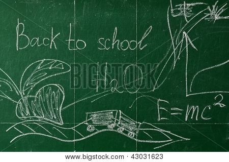 Green chalk blackboard written Back To School with white chalk