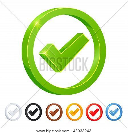 Set of 7 Check Mark icons in diferent colors.